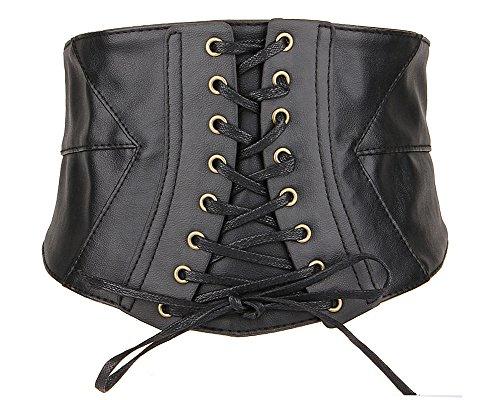Renaissance Festival Outfits (Aecibzo Womens PU Leather Belt Elastic Wide Band Waspie Cincher Corset Wasit Belt (L/Fit waist 33