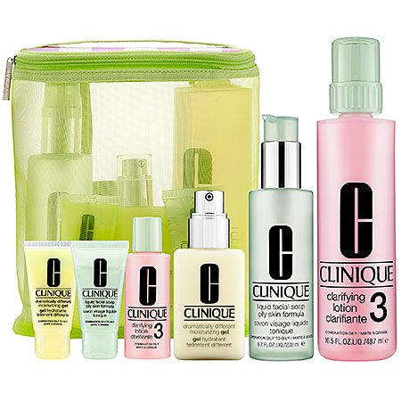 Clinique Great Skin Home & Away Gift Set (Skin Types 3 & 4): 1 Liquid Facial Soap Oily Skin Formula 6.7 Oz + 1 Clarifying Lotion 3 with Pump 16.5 Oz + 1 Dramatically Different Moisturizing Gel with Pump 4.2 Oz + 1 Liquid Facial Soap Oily Skin Formula 1 Oz + 1 Clarifying Lotion 3 - 2 Oz + 1 Dramatically Different Moisturizing Gel 1 Oz + 1 Large Carry All Bag (Type 4 Clinique)