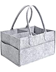 Baby Diaper Caddy, FOME Felt Cloth Nursery Storage Bin and Car Organizer Portable Diaper Caddy Organizer Basket for Diapers and Baby Wipes Nappy Bags for Mom Toys for Child 13X9X7in