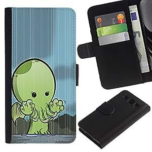 Paccase / Billetera de Cuero Caso del tirón Titular de la tarjeta Carcasa Funda para - Monster Kraken Cute Creature - Samsung Galaxy S3 III I9300