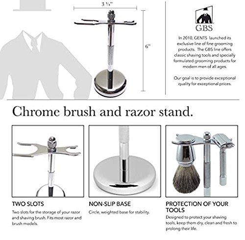 GBS Classic Deluxe Stainless Steel Brush and Razor Stand - Proper Storage for Any Brush and Razor! This Stand Will Prolong The Life Of Your Shaving Tools! The Perfect Stand for Wet Shaving Sets by GBS