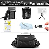 Essential Accessory Kit For Panasonic Lumix DMC-FZ70K DC-FZ80K DMC-FZ60K DMC-FZ100 DMC-FZ40 DMC-FZ47 DMC-FZ150 Digital Camera Includes Replacement DMW-BMB9 Battery (With Info Chip!) + Charger + Case +