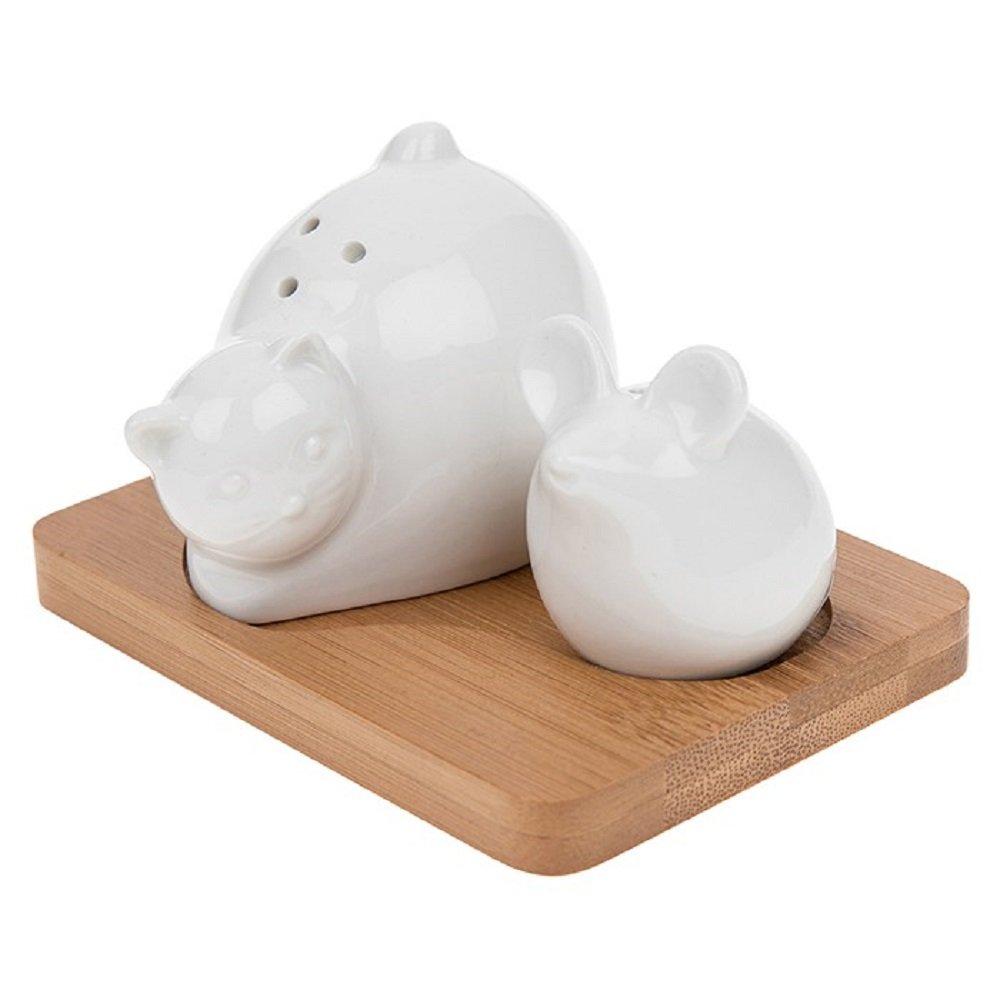 Cat & Mouse Ceramic Cruet Set on Bamboo Tray - Cat & Mouse Salt & Pepper Pots Shudehill
