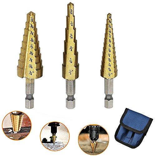 Step Drill Bit Set, 3 Pcs Set Metal Cutting Hole Saw Titanium Cobalt Multi Drill Bits Tools for Stainless Steel, Metal, Wood Hole