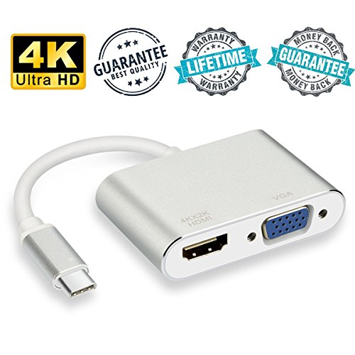 USB C to HDMI VGA Adapter, High Speed and Stability Type C to HDMI VGA Adapter for Macbook Pro Chromebook Pixel Dell Lenovo, LiBangTai by LiBangTai