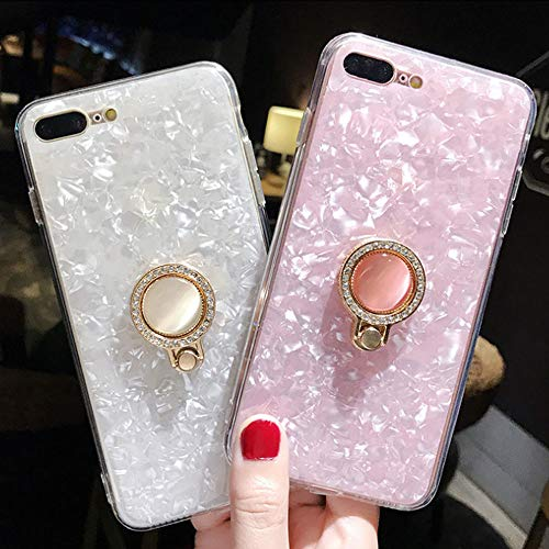 UR Sunshine iPhone XR Case, Multifunction Luxury Glitter Pearly-Lustre Shell Pattern Soft TPU iPhone XR Cover Case Sparkle Bling Crystal Back +Pearl Diamond Ring Holder - White