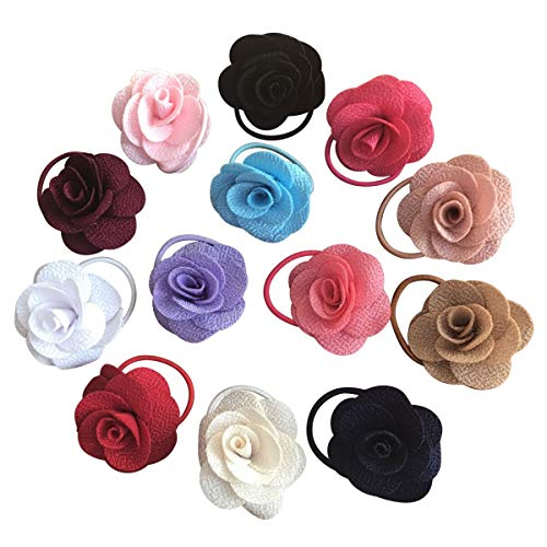 13PCS Toddlers Baby Girls Flower Elastic Hair Bands, No Damage Small Rubber Hair Ties Rope Ponytail Holders Hair Accessories