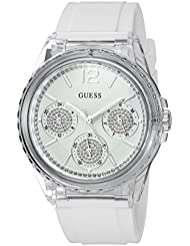 GUESS Womens Crystal Silicone Casual Watch, Color: White (Model: U0947L5)