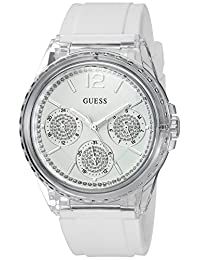 GUESS Women's Quartz Resin and Silicone Casual Watch, Color:White (Model: U0947L5)