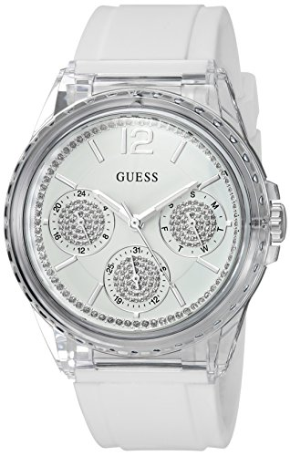 GUESS Women's Crystal Silicone Casual Watch, Color: White (Model: U0947L5)