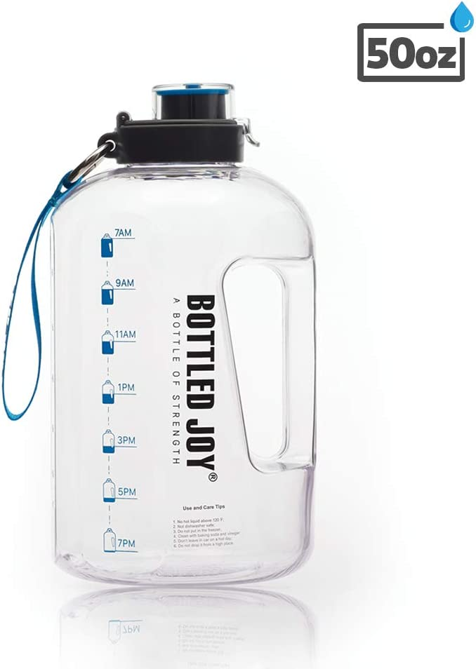 BOTTLED JOY 50oz Water Bottle, BPA Free 1.5L Kids Water Bottle Hydration with Motivational Time Marker Reminder Leak-Proof Drinking for Camping Sports Workouts and Outdoor Activity