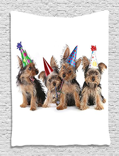 asddcdfdd Funny Tapestry, Yorkshire Terrier Puppies with Party Hats for Dogs Photos Wall Decor for Boys Teen Girls Nursery Kids Room Decoration Funny Tapestry Lover Theme, Camel Black Red Green