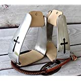 Western Horse Barrel Roper Saddle Stirrups Angled Sloped Aluminum BLK CROSS 5173