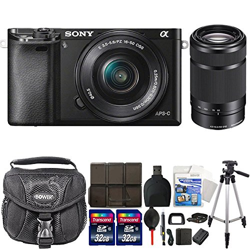 Sony Alpha A6000 Mirrorless Digital Camera (Black) with 16-50mm and 55-210mm Accessory Kit