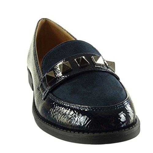 De Zapatillas Angkorly Tachonado Azul Patentes Moda Tacón Mujer Slip Talón Ancho Mocasines 2 Bimaterial on Cm d5wBrqwW
