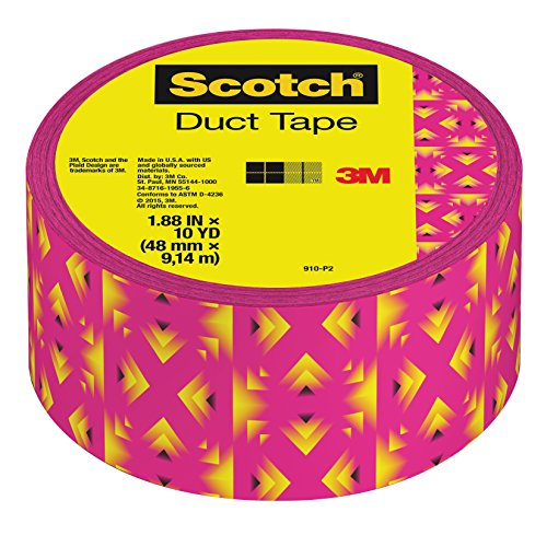 """Scotch Duct Tape, 1.88 """" x 10 yd, Pink and Yellow Tribal"""