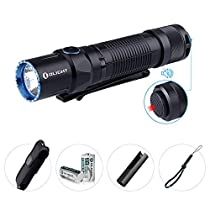 Olight M2T 1200 Lumens Cree XHP35 HD CW LED Tactical Flashlight, Dual Switch with 2 x CR123A Batteries, Compact EDC Light for Household Outdoors