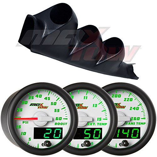 White Face Gauge Package (White MaxTow 00-06 Chevy Silverado Duramax Diesel Gauge Package White Face Boost, EGT & Trans Temp)