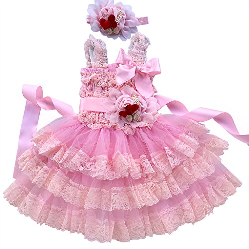 Rosy Kids Girl's Vintage Chic Flower Girl Lace Dress Flower Sash Hair Flower, Color20MH01, S