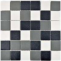 Mosaik Fliese Keramik schwarz weiß metall für BODEN WAND BAD WC DUSCHE KÜCHE FLIESENSPIEGEL THEKENVERKLEIDUNG BADEWANNENVERKLEIDUNG Mosaikmatte Mosaikplatte 1 Matte