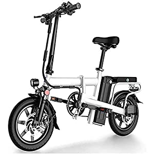 Adults Folding Electric Bike, Aluminum Alloy 14 Inch 48V Removable Lithium Battery Electric Bicycle 12AH