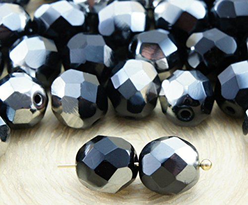 20pcs Opaque Jet Black Metallic Dark Chrome Silver Half Round Faceted Fire Polished Spacer Czech Glass Beads 8mm