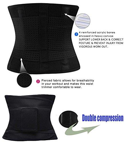 FOUMECH Women's Waist Trainer Belt-Waist Cincher Trimmer-Slimming Body Shaper Belt-Sport Girdle Belt (Black, Large) Photo #8