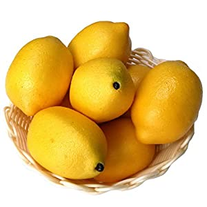 Gresorth 8pcs Artificial Lifelike Simulation Yellow Lemon Fake Fruit Home Kitchen Cabinet Decoration Food Model 56