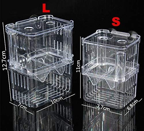 2 Size Acrylic Aquarium Floating Breeding Box Double Layers Fish Tank Aquariums For Guppy Betta Breeding Hatchery Isolation   White, S