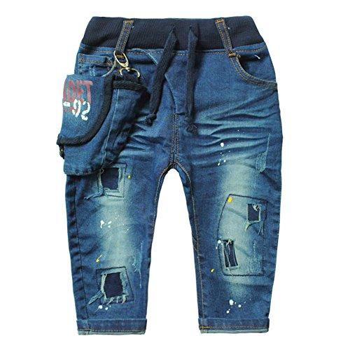 - Little Boys' Baby Denim Jeans Special Pockets Hole Paint Old Pants, Blue, US 2, Asian 4