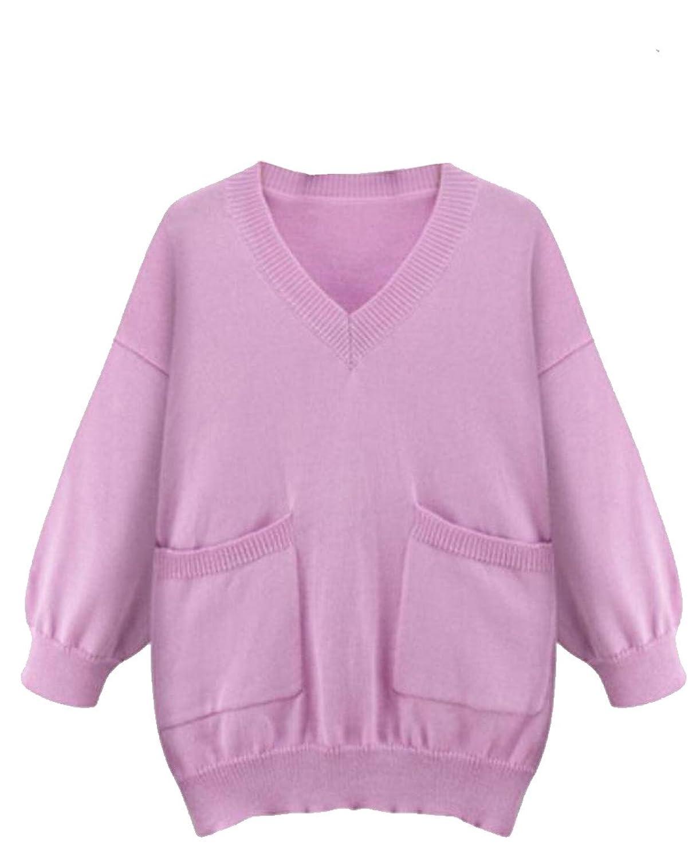 Unko Women's Pocket V-Neck Long Sleeve Pullover Knitwear