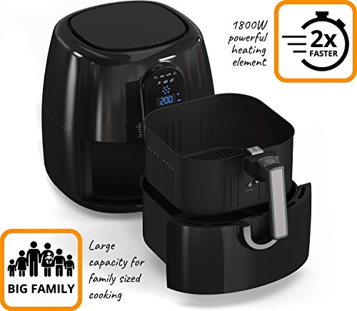 Automatic Electric Hot Air Fryer for Oilless Low-Fat Healthy Cooking - Large 5.2 L (5.5 Qt) Capacity - 1800W with Touch Panel - Free Accessory Set and Online Recipe Book - Fry - Roast - Bake - Grill by HOMIA (Image #2)