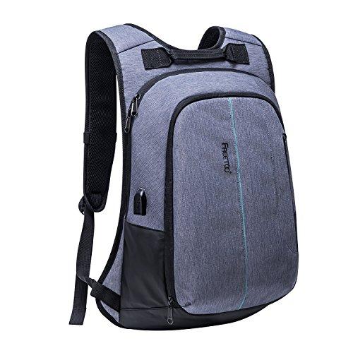 [Rucksack Campus] FREETOO Laptop Rucksack Schulrucksack mit gepolstertem Laptopfach Studenten backpack Daypack mit USB Port, geeignet für Alltagsleben schule Campus und Dienstreise, 15,6 Zoll, leicht, grau