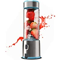 TTLIFE Portable Blender USB Rechargeable Glasse & Stainless Steel Jucier Cup Powerful Dual Motor 5200 mAh 450ml with 4 Blades Juice Mixer Bottle for Fruit, Smoothie, Milkshake, FDA/BPA Free