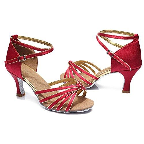 Oscuro Satén 5CM ES217 7cm tacón Mujer 7CM para Latino Baile Modelo Zapatillas de HIPPOSEUS Altura del Rojo FYaw1x4y