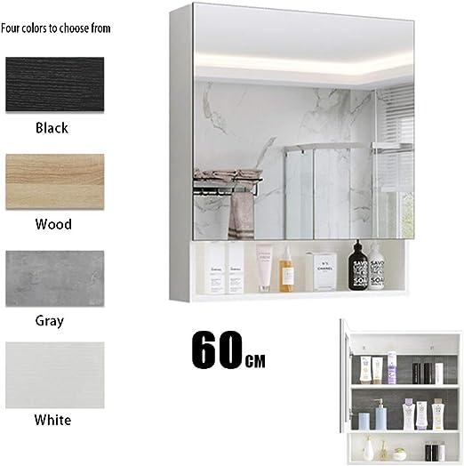 Armarios con espejo Mueble Espejo de Madera Maciza de Pared Caja de Espejo de baño Espejo de Pared de baño Gran Capacidad de Almacenamiento en Rack Espejos de Aumento de Pared: Amazon.es: