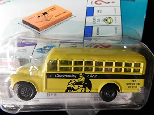 1956 Chevy School Bus 70th Anniversary Monopoly Community Chest with Game Token Edition 1:64 scale by Johnny Lightning