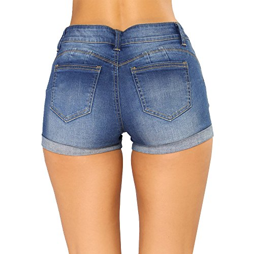 Jeans Corto Vita Denim a Hot Donna Blu Bassa Navy Pantaloni Gavemenget Skinny Pantaloncini shorts Jeans Chic Estivo Pants Shorts Strappati AxC6FwzSq