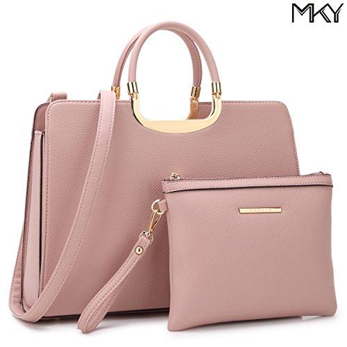 Large Leather Satchel Handbag Designer Purse Wallet Set Shoulder Bag Pink