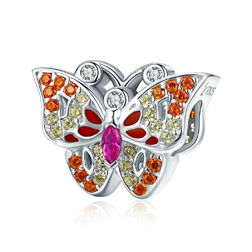 PHOCKSIN Sparkling Colorful CZ Butterfly Charms 925 Sterling Silver Animal Bead for Bracelets Girl Gifts (Pandora Best Friend Butterfly Charm)