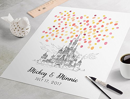 Black and White Disney Castle Wedding Guest Book: Disneyland Wedding Sign In Guest Book. Fingerprint guest book for wedding, Disney Castle fingerprint tree art from Pomelo Studios