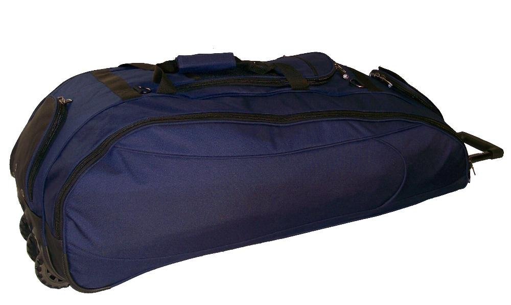 Catchers Bag in Solid Navy Blue Cobra XL III Three Wheels Softball Baseball Bat Equipment Roller Bag