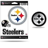 Rico Pittsburgh Steelers NFL Molded Auto Emblem and Steelers Triple Spirit Stickers