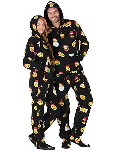 6b398d6b3a81 Footed Pajamas - Merry Emoji Xmas Adult Hoodie Fleece Onesie ...