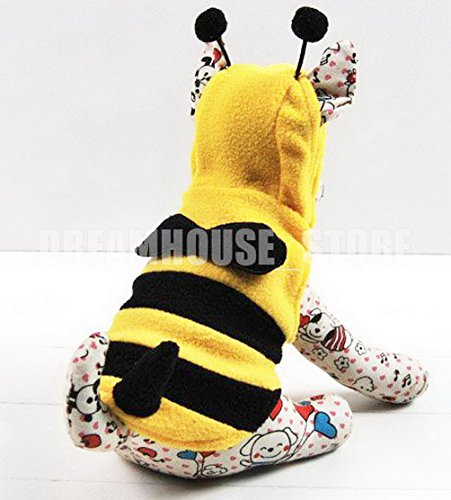SELMAI Pet Bumble Bee Costume Hooded Fleece Dog Coat Winter Vest Cat Puppy Small Pet Clothes Yellow (Bumblebee Suit)