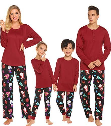 Ekouaer Christmas Loungewear Family Pj Set Sleepwear Pajamas Men's Soft Top and Flannel Pants