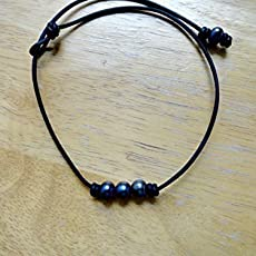 b364181fc946f Amazon.com: Pearls and leather necklace-pearl choker- 3 pearls and ...
