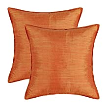 """SET OF 2 CaliTime Cushion Covers Pillows Shells Light Weight Dyed Stripes Orange Color 18"""" X 18"""""""