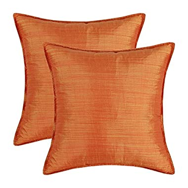 SET OF 2 Euphoria Cushion Covers Pillows Shells Light Weight Dyed Stripes Orange Color 18  X 18