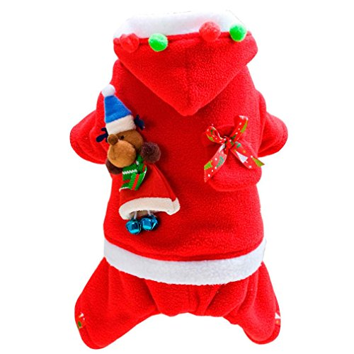 [DEESEE(TM) Christmas Pet Dog Cat Winter Clothes Puppy Warm Coat Four Legs Lover Cloth Costume (S, Style] (4xl Santa Costume Uk)